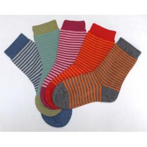 Socquettes enfant rayées,  coton biologique et 2% élasthanne