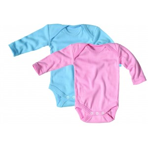 body col croisé manches longues coton biologique écru, rose, bleu ciel ,gris