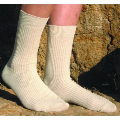 Socquettes soir d'été coton bio / lin bio , couleur lin