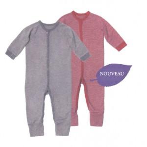 Pyjama Grenouillière coton biologique rayures fines en 2 couleurs - Vêtement bébé bio