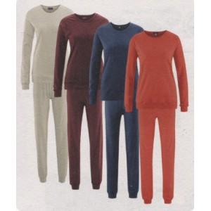 Pyjama femme en coton biologique interlock, encolure ronde